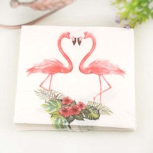 1pack=20pcs Floral Flower Flamingo theme Paper Napkins Food Festive Party Tissue Napkins Decoupage Glass Decoration 20pcs paper napkins for decoupage kleenex tableware tissues diy craft decoration