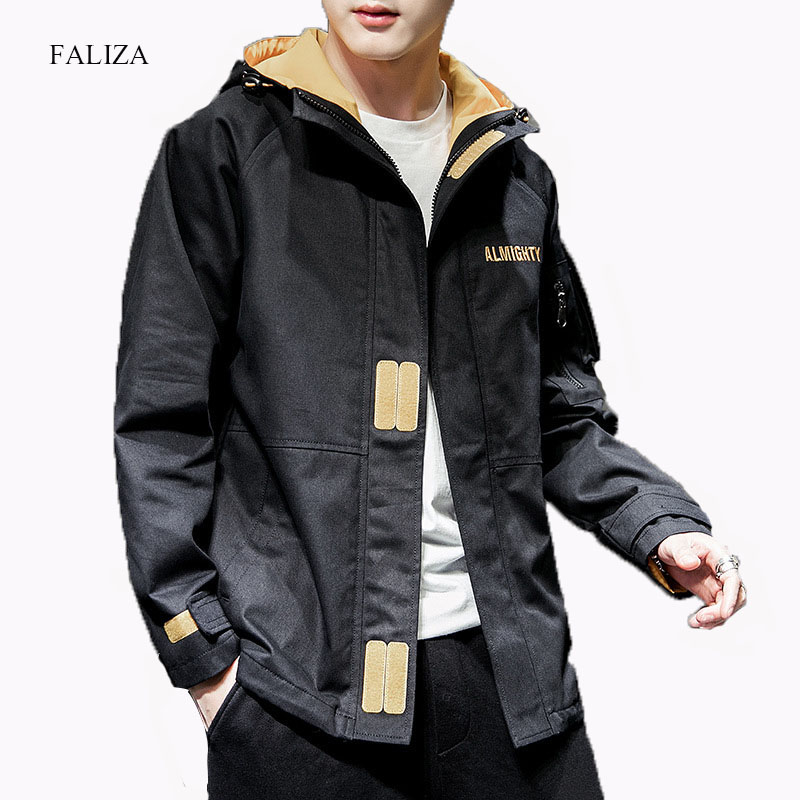 FALIZA New Men Casual Bomber Jackets Spring Autumn Hooded Jacket Mens Pilot Jacket Male Letter Embroidery Baseball Coats J102(China)