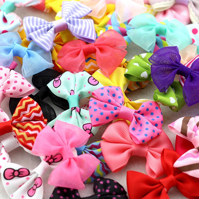 10Pcs Baby Girls Bow Hairgrips Kids Sweet Style Dot Stripe Hair Clips Hairpins