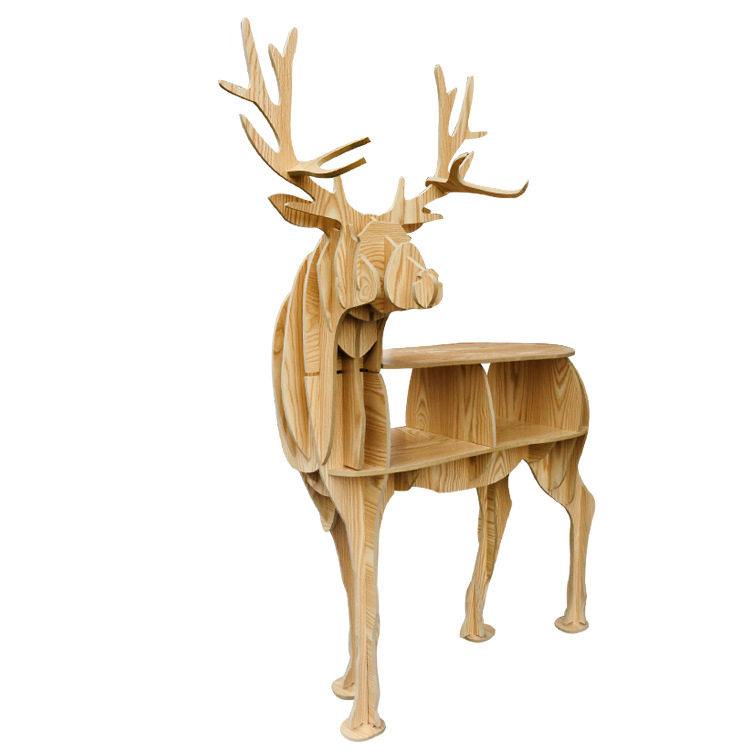 Bois artisanat cerf Table basse livre étagères cerf bureau cerf Table bois meubles - 3