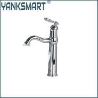 YANKSMART Sliver Chrome Single Handle+Spray Spout+Brass Body+2 Hose Deck Mount Wash Basin Sink Vessel Torneira Tap Mixer Faucet