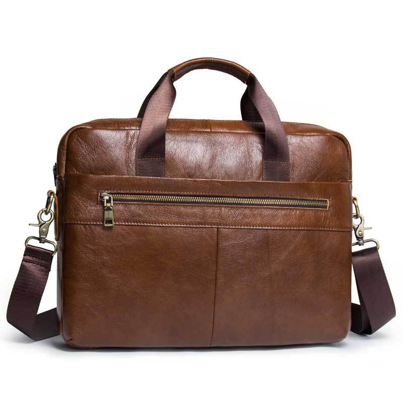 Briefcases-Bag Handbags Genuine-Leather Messenger-Bags Laptop Shoulder Travel Portable