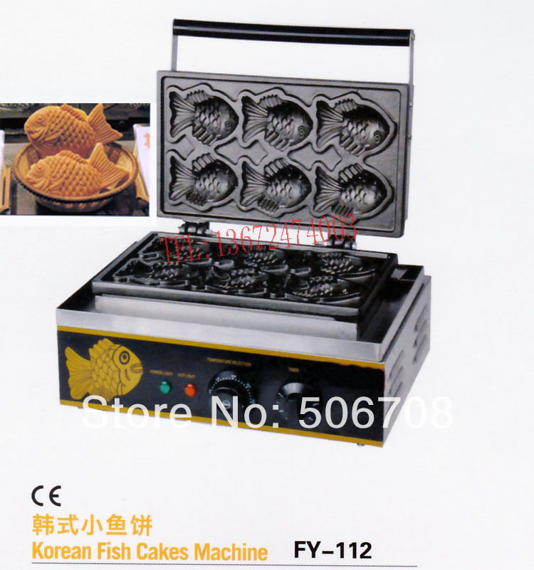 free shipping Electric 110v 220v Hot sale 6 pcs Fish waffle making machine Taiyaki maker цена