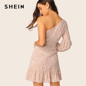 Image 2 - שיין לעופף פרחוני פנס כתף שרוול לפרוע שמלת 2019 Boho ורוד גבוהה מותניים לעטוף נשים אביב קיץ שמלות