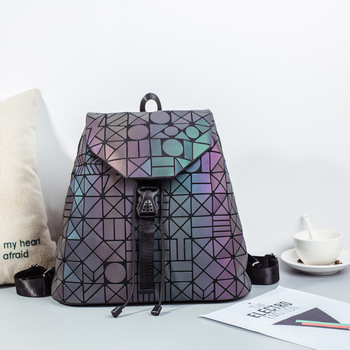 Big Luminous Backpacks Female Fashion Girl Daily Backpack Geometry Package Sequins Folding Bags School Bags