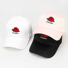 b53a5d3d7ee 100% Cotton Red Rose embroidery Flower Summer Snapback Dad Hat For Men  Women Unisex Autumn