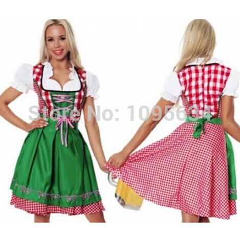 free shipping halloween costumes for women ladies knee length green beer maid oktoberfest costume S M L XL 2XL