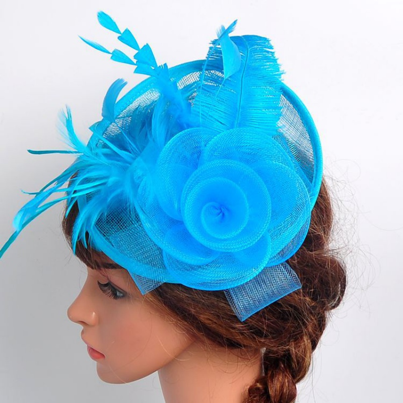 New Women Veil Feather Hair Clip Hat Fascinator Wedding Cocktail Party Mesh Decor