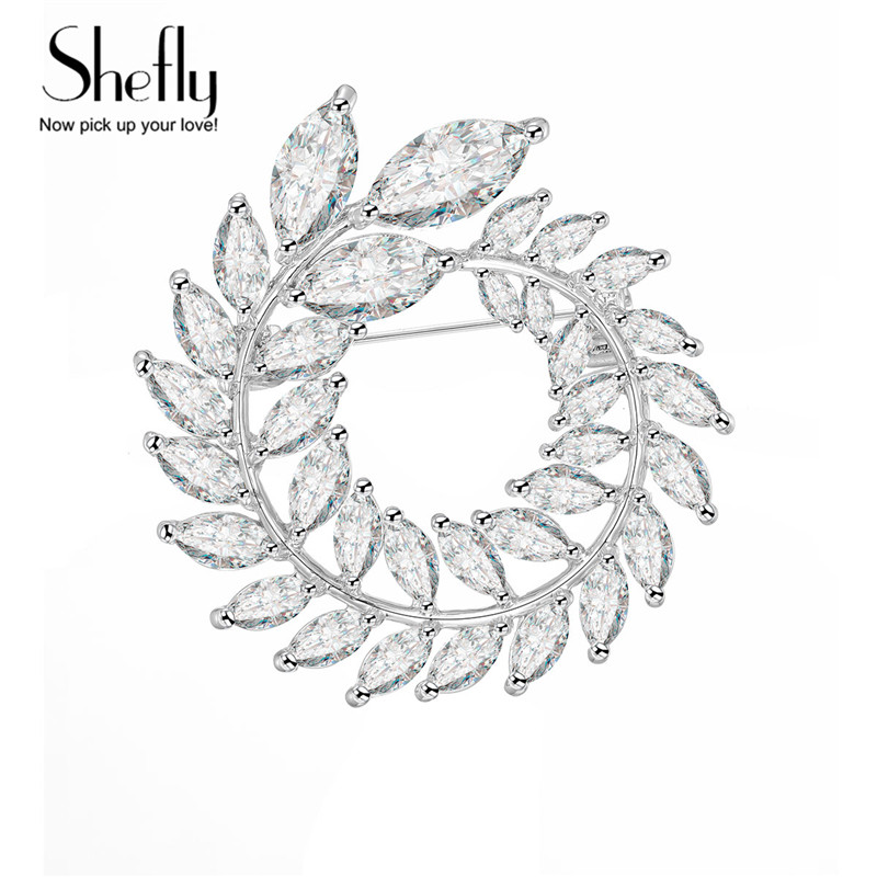 Silver Round Garland Women Brooch Long Leaf Cubic Zirconia Pin Simple Style Girl Suit Dress Accessories Party Christmas Gift