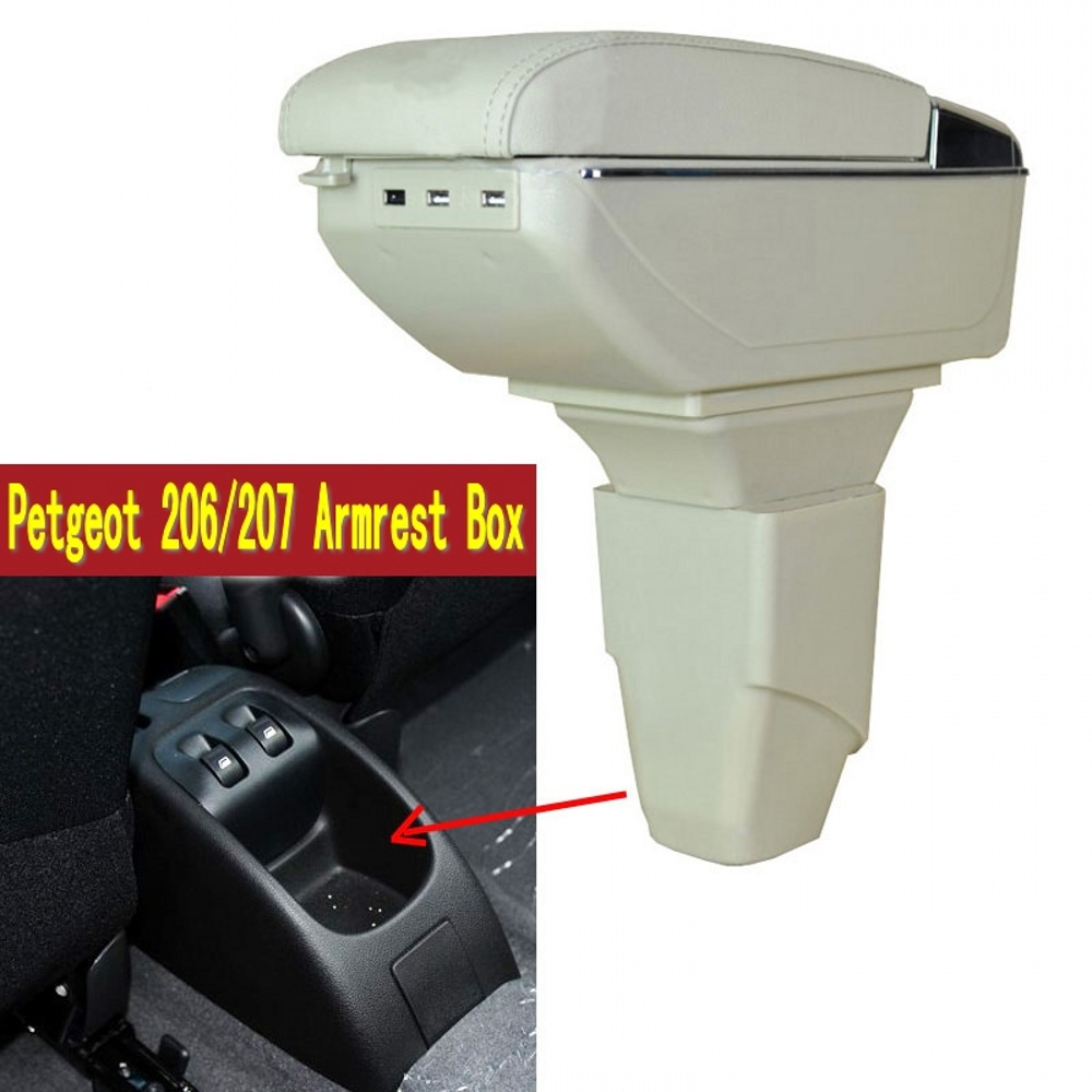 for peugeot 206 207 armrest box central store content box with cup holder ashtray usb 207 206. Black Bedroom Furniture Sets. Home Design Ideas