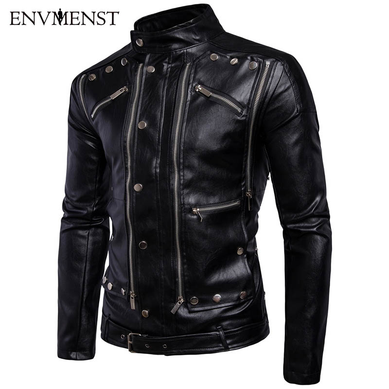 Envmenst 2017 Autumn Leather Jacket Men Slim Multi-button Leather Motorcycle Jackets Stand Collar Zipper Coat Outdoors