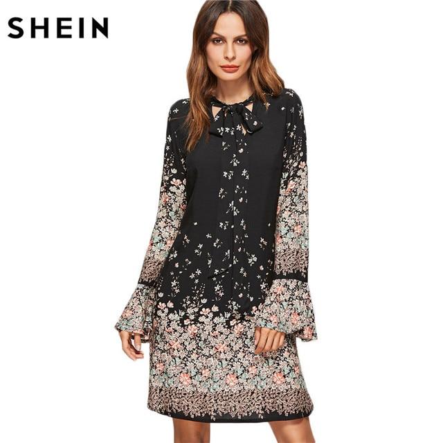 d8b0cd2789 SHEIN Coreano Abbigliamento Donna Stampa Floreale Vestiti della Molla Delle  Donne Cravatta Nera Collo Lungo Del