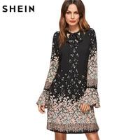 SheIn Korean Women Clothing Floral Print Dresses Women Spring Black Tie Neck Long Flare Sleeve Casual