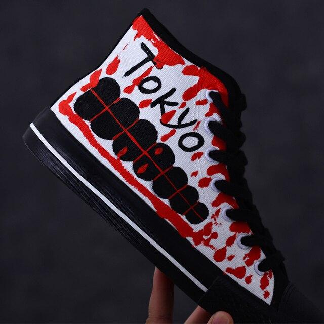 444f1caaf0bc Spring Tokyo Ghoul Hand-painted Canvas Shoes Kaneki Ken Cosplay Boots  Summer Punk Rock Street Dancing Graffiti sneakers D91102