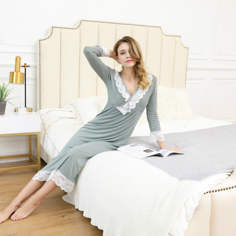 Female Sleep Wear Spring And Autumn Long Sleeve Nightgown Modal Lace Night Gown V-Neck Lady Elegant Princess Long Sleeping Skirt