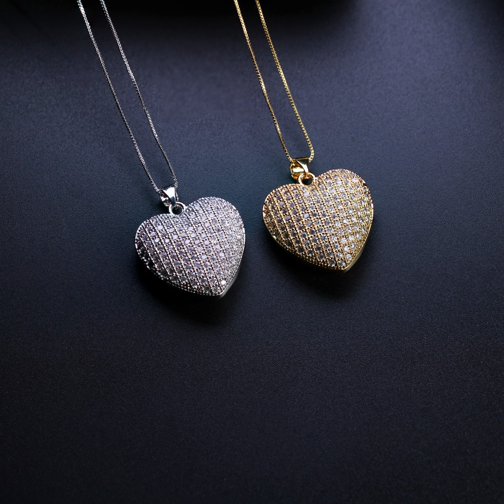 Mother gift Heart shape Pendant Necklace Cubic zirconia necklace with plated Women Jewelry Fashion Bijoux Chain NJD001662 stylish hollow out heart shape pendant necklace with owl for women