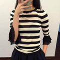 2016 fall winter new fashion black white wide striped women tops knitted sweater pullover girls cute flare sleeve top