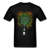 All Turn To Ashes Men Cartoon Tree Print Black T Shirt Short Sleeve Tops Tees Shirts