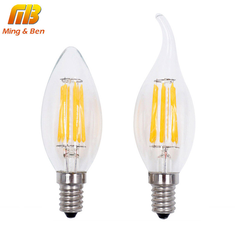 [MingBen] LED Filament Bulb Lampada LED 220V Bombillas LED Edison COB Bulb E27 E14 A60 G45 C35 Candle Light 4W 6W 8W 360 Degree 5pcs e27 led bulb 2w 4w 6w vintage cold white warm white edison lamp g45 led filament decorative bulb ac 220v 240v