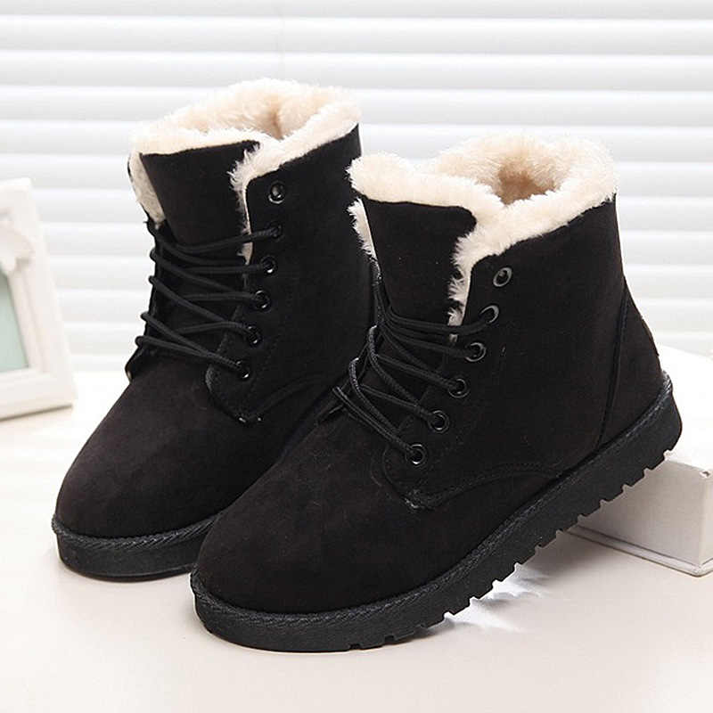 Giày Bốt Nữ Mùa Đông Lông Ấm Áp Ủng Nữ Mùa Đông Giày Botas Mujer Phối Ren Cổ Chân Giày Nữ Giày Nữ Đen Plus kích Thước 41 42 43