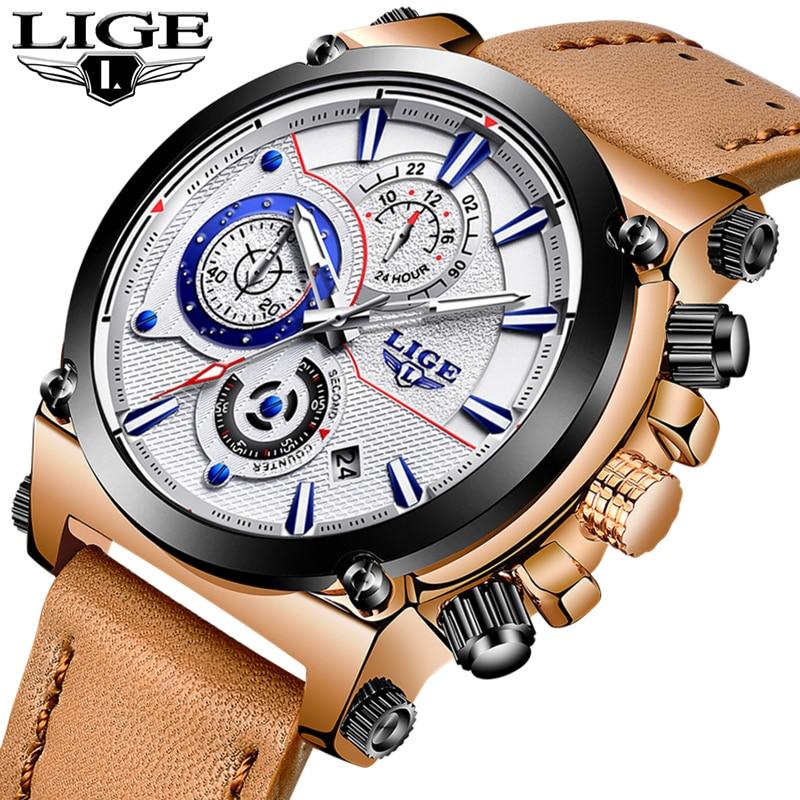 Relojes hombre 2018 LIGE Hommes Montres Top Marque De Luxe De Mode Montre À Quartz Hommes En Cuir Grand Cadran Militaire Sport Montre Étanche