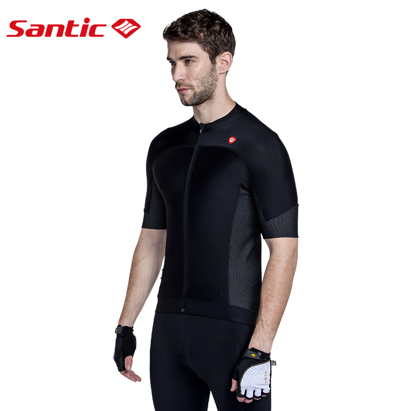 Santic Cycling Jersey Short Sleeve Jersey Black White Mens Bicycle Summer Breathable Dry Men's Cycling Sport Jersey MC02072H/W topcycling sad209 outdoor cycling men s short jersey clothes black white size xl