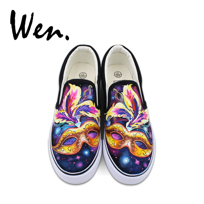 Wen Hand Painted Design Mask Shoes Colorful Feathers Shining Starlight Slip On Canvas Black Women Flats Girls Sneakers