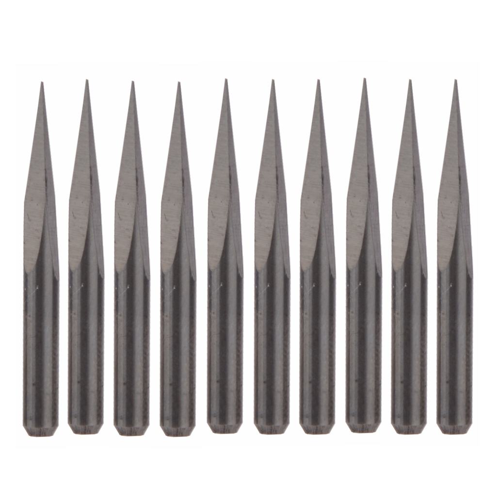 10Pcs Carbide Steel 15 Degree Router Pyramid Engraving Bits For CNC Machinery 0.1mm