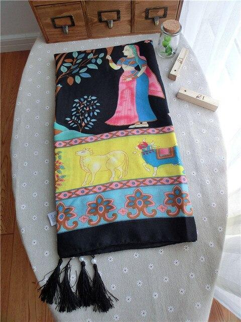 Оригинальный одной жемчужины кулон Ретро чешского стиль хлопок шарфы Г-Жа негабаритных шаль Pachira