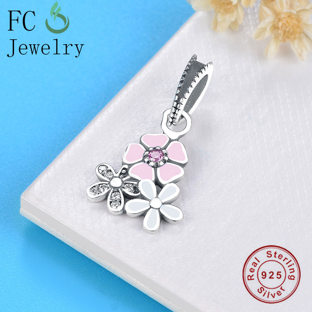 FC Jewelry Fit Original Pandora Charms Bracelet Authentic 925 Silver Spring Daisy Flower Pendant Beads for Making DIY Berloque