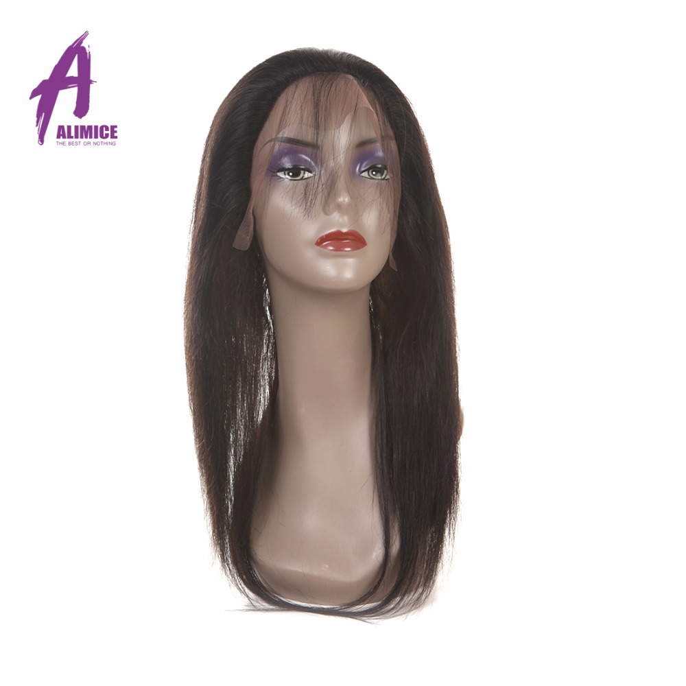 Alimice Brazilian 360 Full Lace Frontal Closure Straight 22X4X2 Band - Cabello humano (negro)