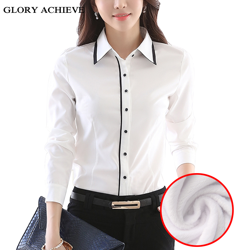 340ca9ed013 Бархат Thicking для женщин блузка 2018 зимние теплые офисные женские туфли Рубашка  Блузки для малышек feminina