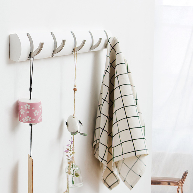 Lovely Durable 100% Bamboo Clothes Hanger With 5 Stainless Steel Hooks Coat Towel  Scarf Wall Mounted