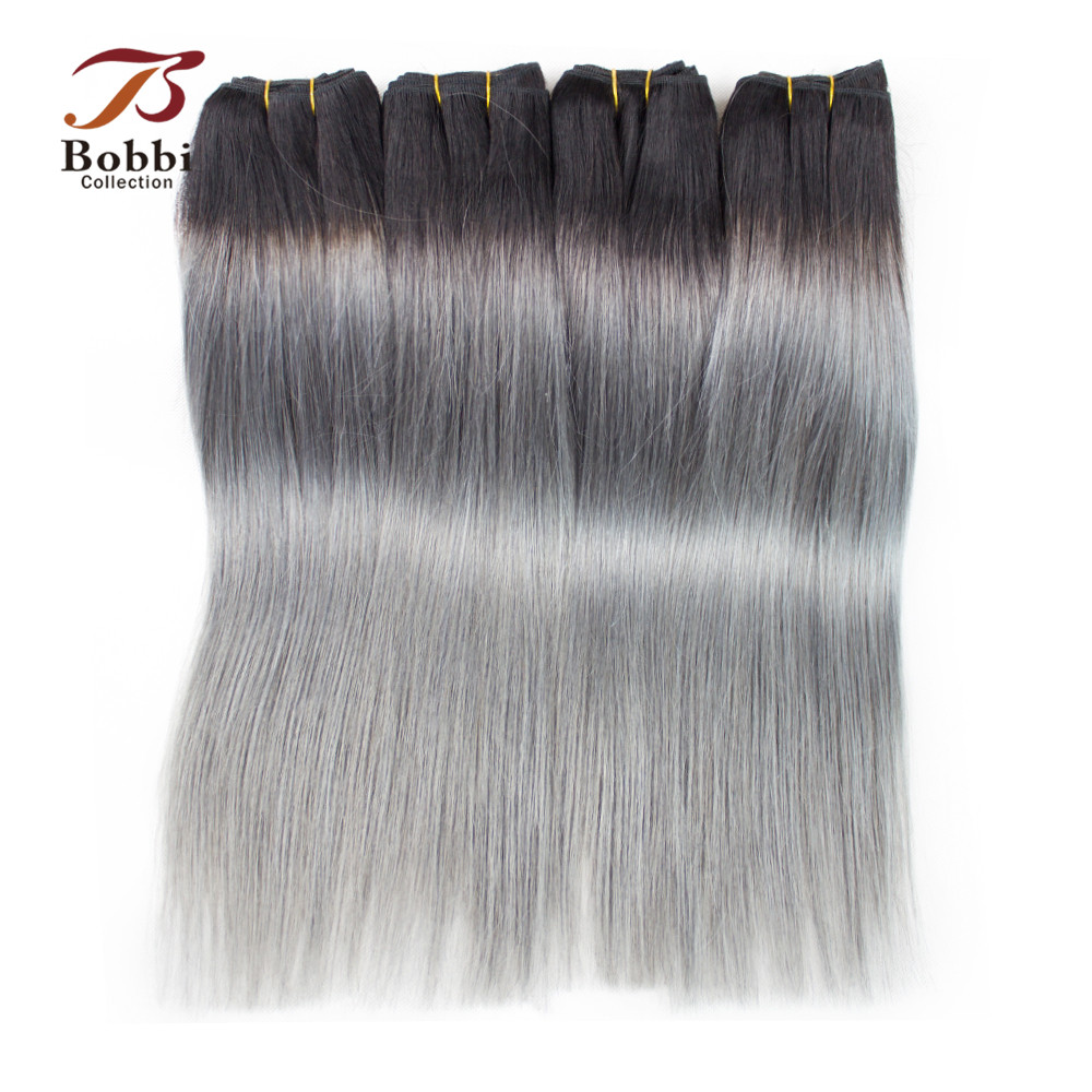 4 Bundles Brazilian Straight Hair Weave Bundles Two Tone T 1B Dark Grey Ombre Remy Human Hair Extension Bobbi Collection