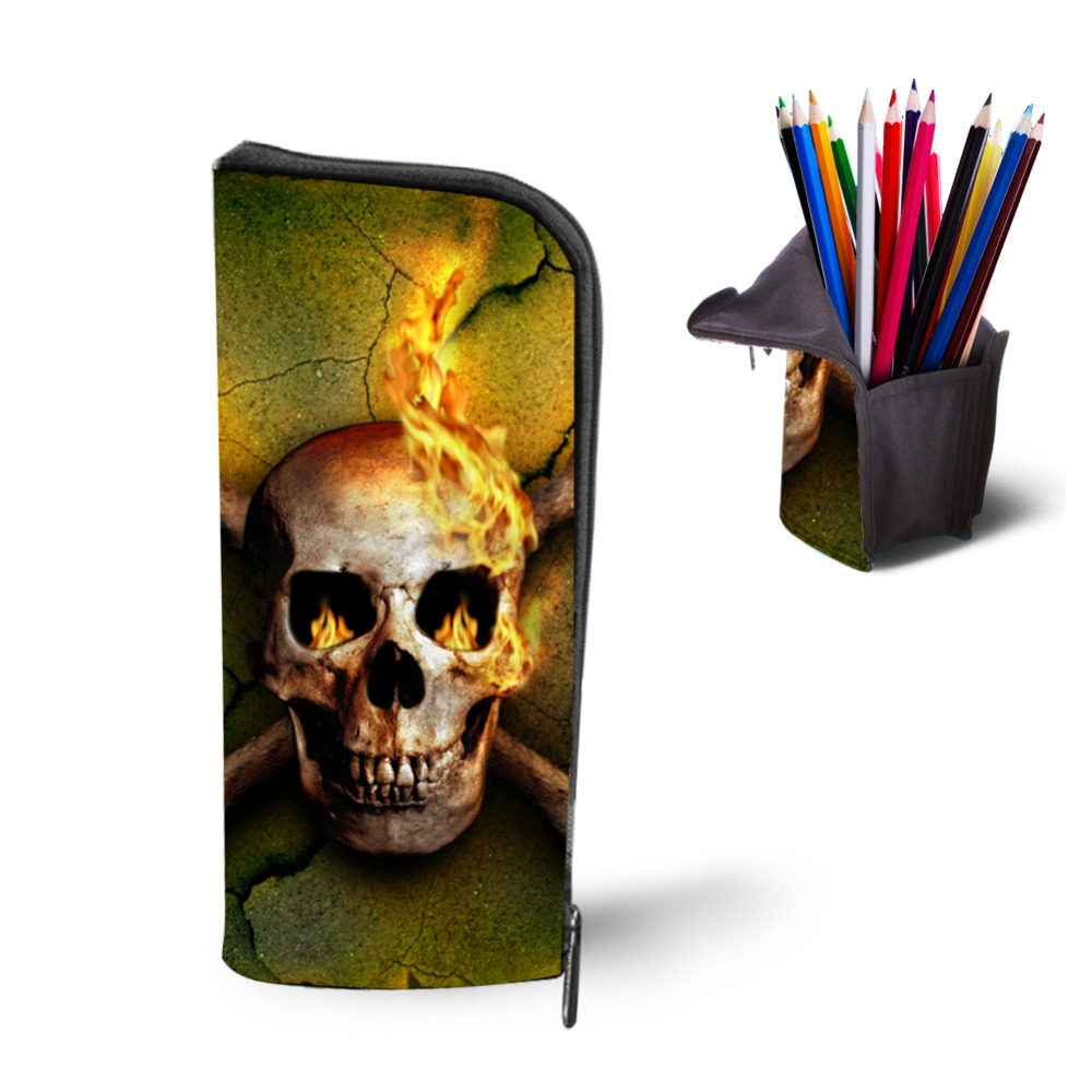 Multifunction Cosmetic Cases Women Make Up Bag Punk Skull Print Kids Boys Pencil Pen Bag for School Boys Girls Stationary Holder  multifunction cosmetic cases women make up bag punk skull print kids boys pencil pen bag for school boys girls stationary holder
