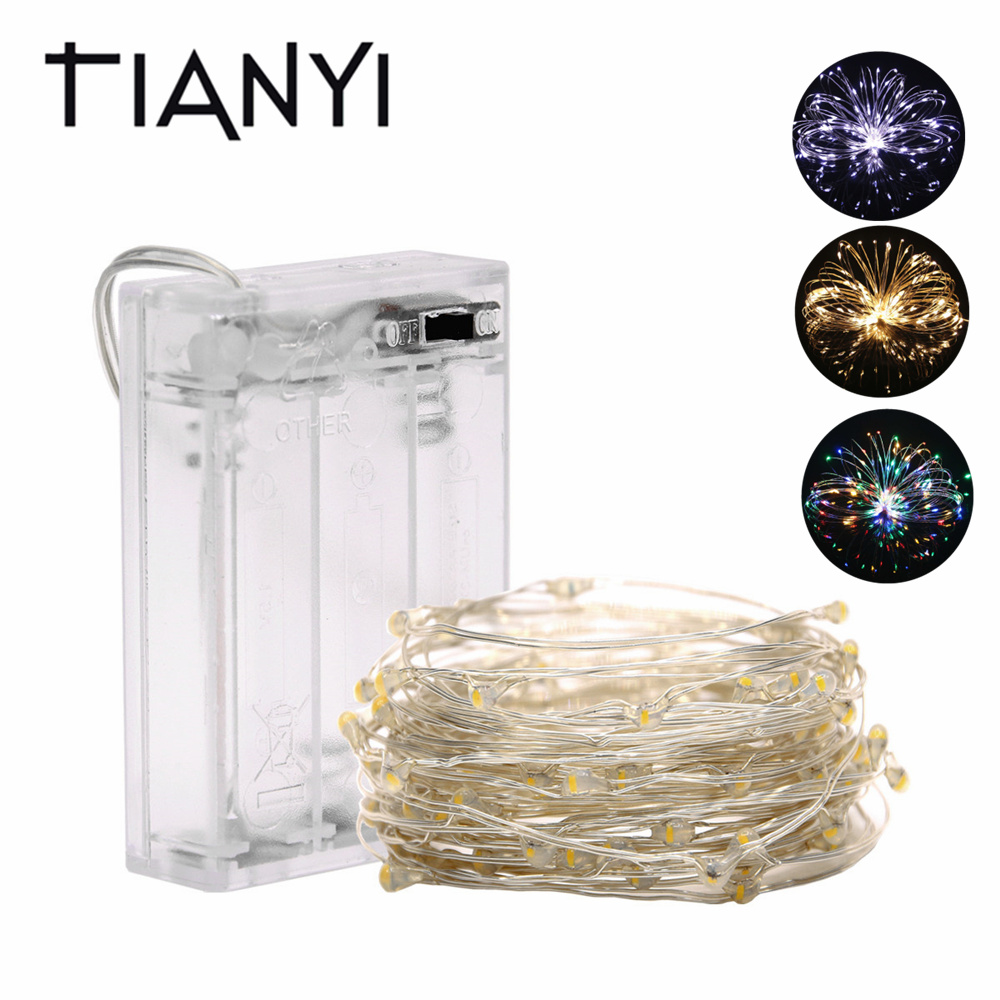 Fairy String Lights Battery Operated Waterproof 2m 10m 100 LED String Lights 33FT Copper Wire Firefly Holiday Lights Strip