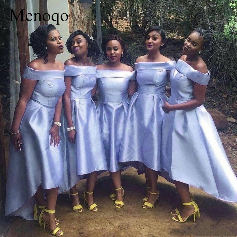 Menoqo Bridesmaid Dresses 2019 African Black Girls Off Shoulders Satin Mind Of Honor Dresses Country Wedding Guest Dresses