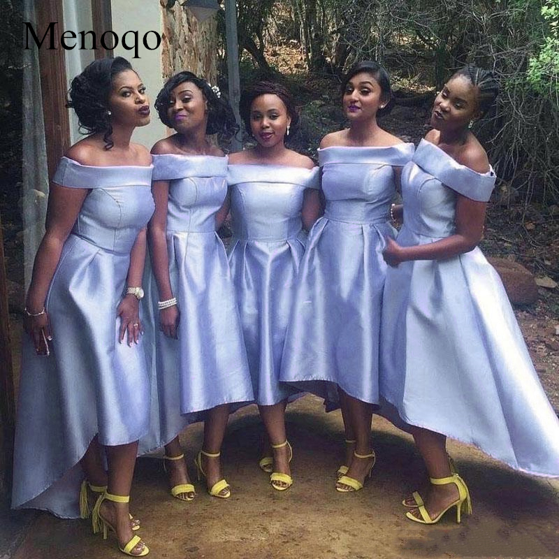 Menoqo   Bridesmaid     Dresses   2019 African Black Girls Off shoulders Satin Mind Of Honor   Dresses   Country Wedding Guest   Dresses