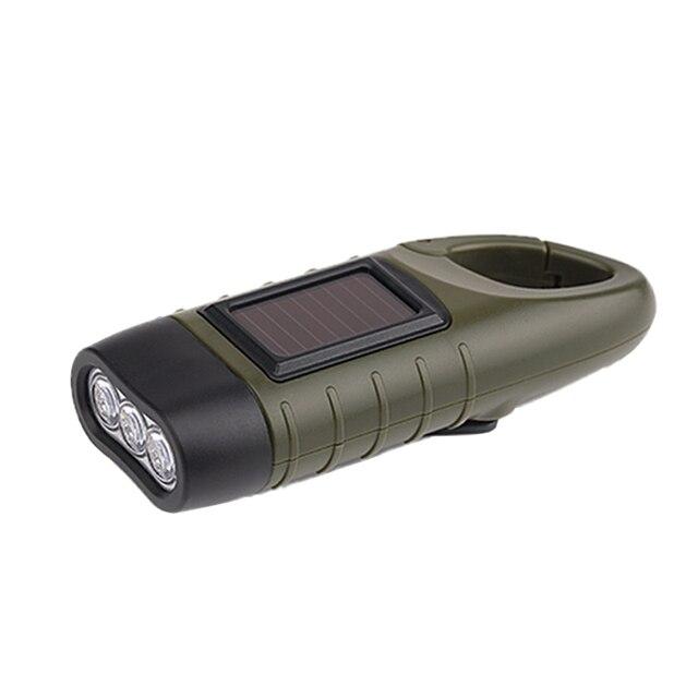 LED Emergency Flashlight Solar Night Lamp hand power Generation Outdoor Lamp Hook Small Flashlighting