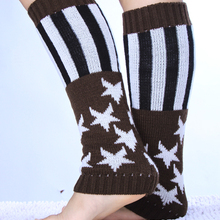 2015 Women Flag Star Knitted leg warmers Boot Cuffs Toppers Boot Socks  Crochet booty Gaiters 3colors 20pairs/lot #3877