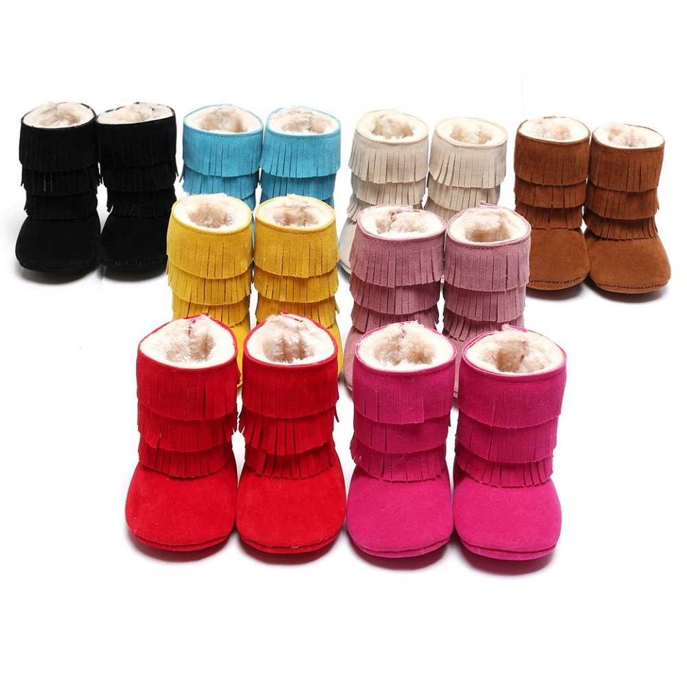120Pairs Baby Girls Boots Solid 0-3year Snow Winter Newborn Moccasin Bebe First Walkers Boys Boot Children Shoe Fur Fringe Suede