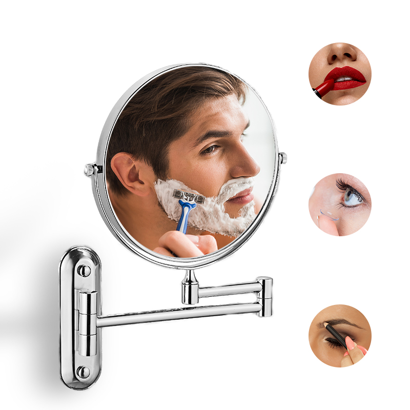 Bath Mirror Led Cosmetic Mirror 1X/5X Magnification Wall Mounted Adjustable Makeup Mirror Dual Arm Extend 2-Face Bathroom Mirror
