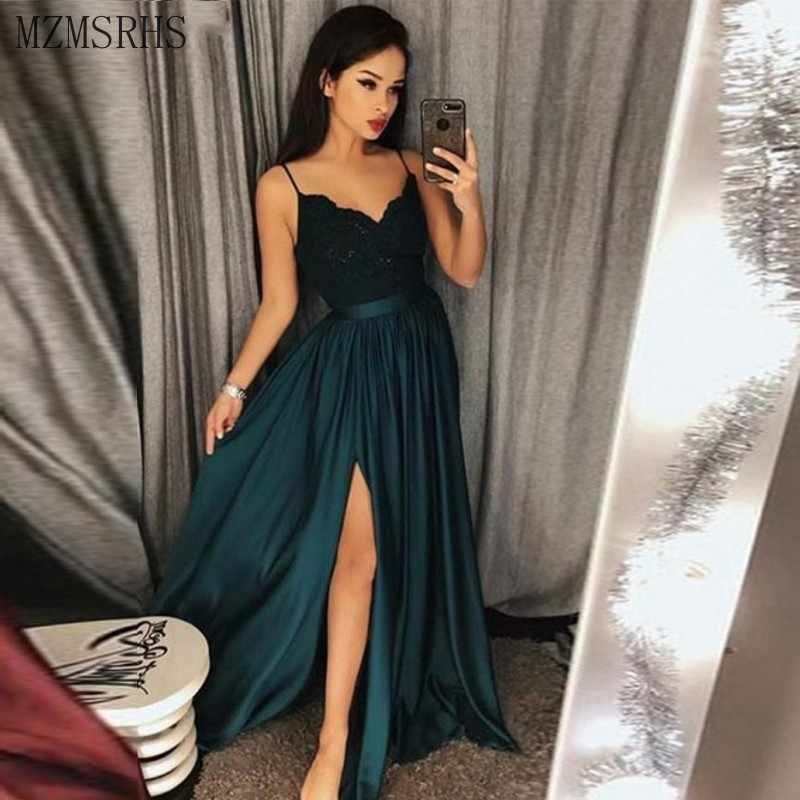 Sexy Spaghetti Strap Robe De Soiree Longue 2019 vestidos De noche largos De encaje De corte alto vestido De graduación vestidos De ocasión especial