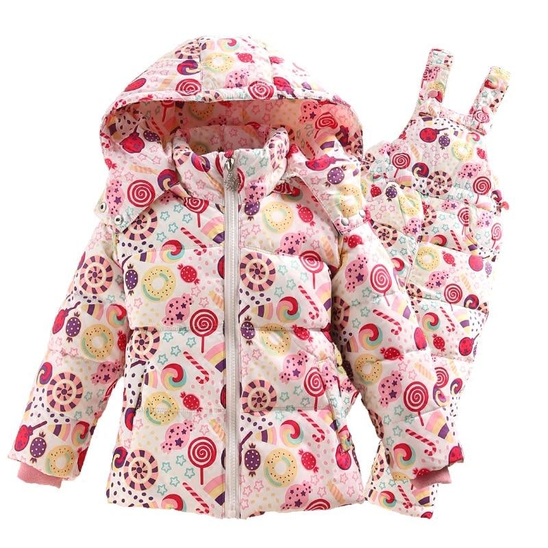 2016 Winter Children s Clothing Set Kids Ski Suit Overalls Fashion Print Girls Down Coat Warm