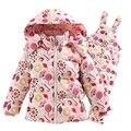 2016 de Inverno das Crianças Conjunto de Roupas Crianças Terno De Esqui Macacão de Impressão Moda Meninas Para Baixo Casaco Quente Jaquetas Snowsuits + bib calças 2-5 t
