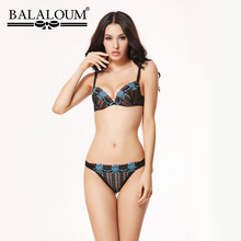 BALALOUM Women Sexy Thin Push Up Bra and Panty Sets Lace Flower Embroidery Brassiere Seamless T Back Thongs Female Lingerie Set