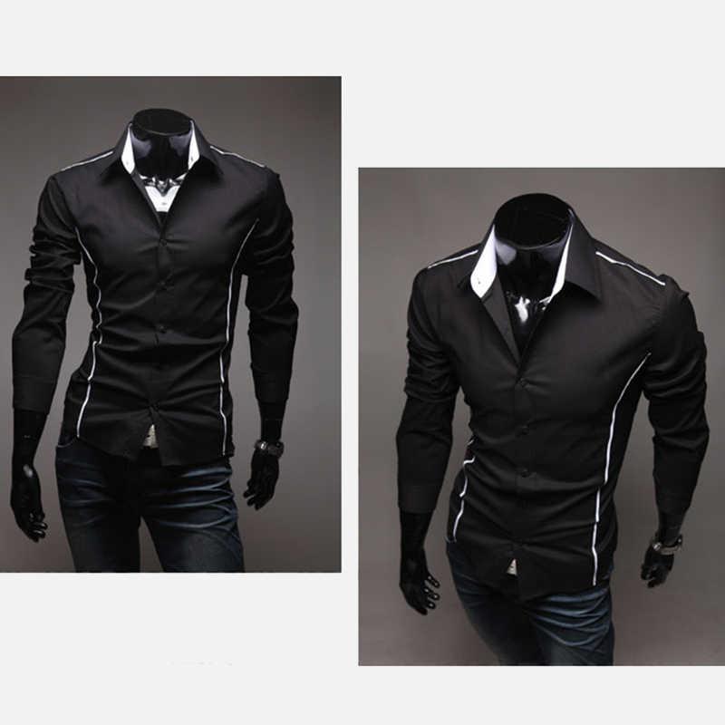 ネックストライプメンズ長袖シャツトップスリムフィットブラックホワイトプラスサイズ 3XL シャツメンズ 2019 夏男性ストリート服
