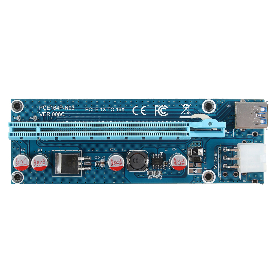 5Pcs USB3.0 PCI-E Express 1x To 16x Extender Riser Card Adapter SATA 15Pin-4Pin Cable Blue