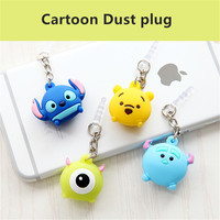 Cute Cartoon Mobile phone dust plug 3.5mm anti audio port earphone jack plug phone decoration Pendant for iphone 6 6s Samsung