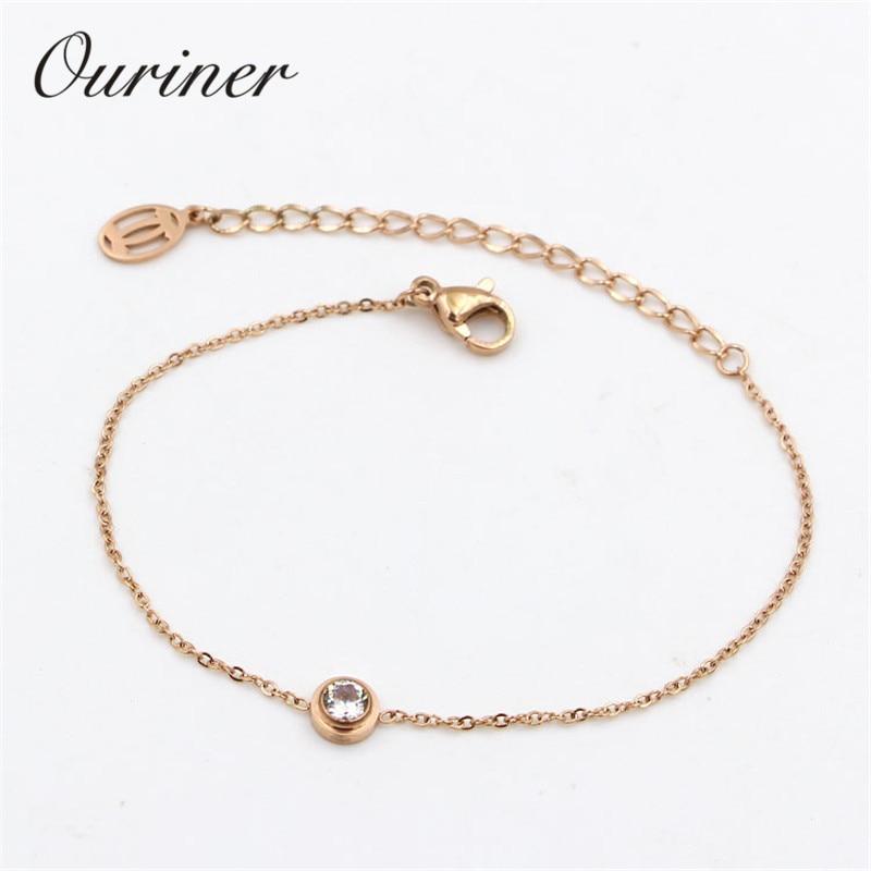 Одиночные украшения тонкий веревка шнур браслет один кристалл браслет из розового золота-Цвет цепи серьги-подвески для женщин, влюбленных ...